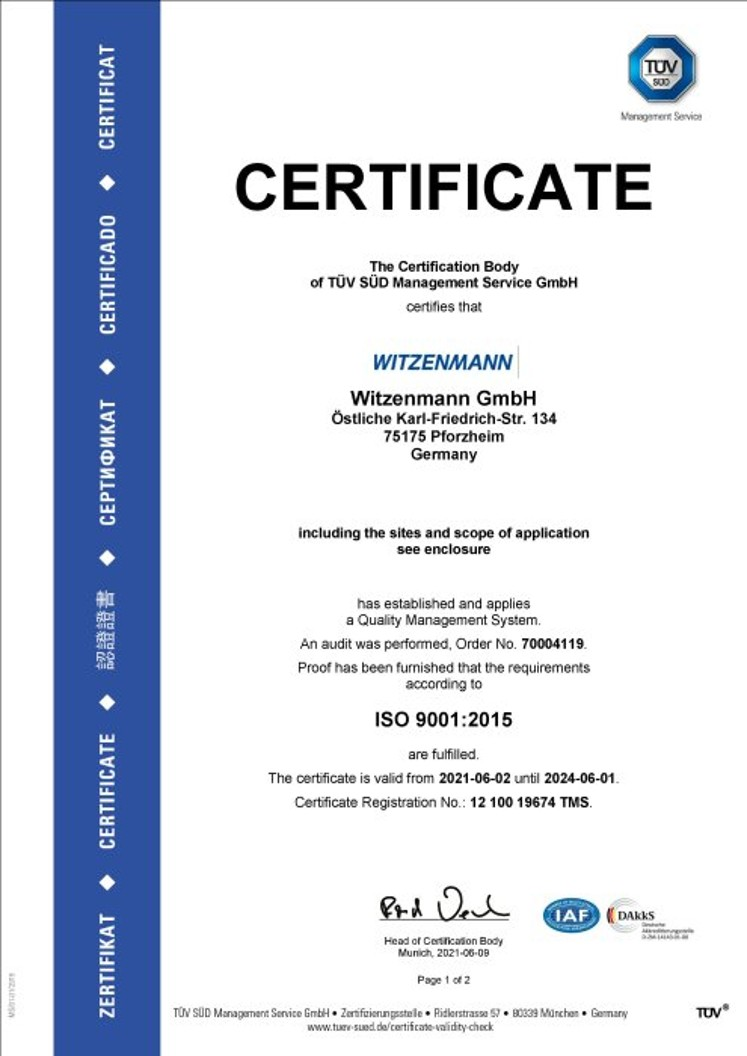 ISO 9001:2015 Certificate Witzenmann GmbH_preview